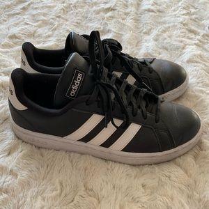 Adidas Black Leather Cloudfoam Advantage Sneakers